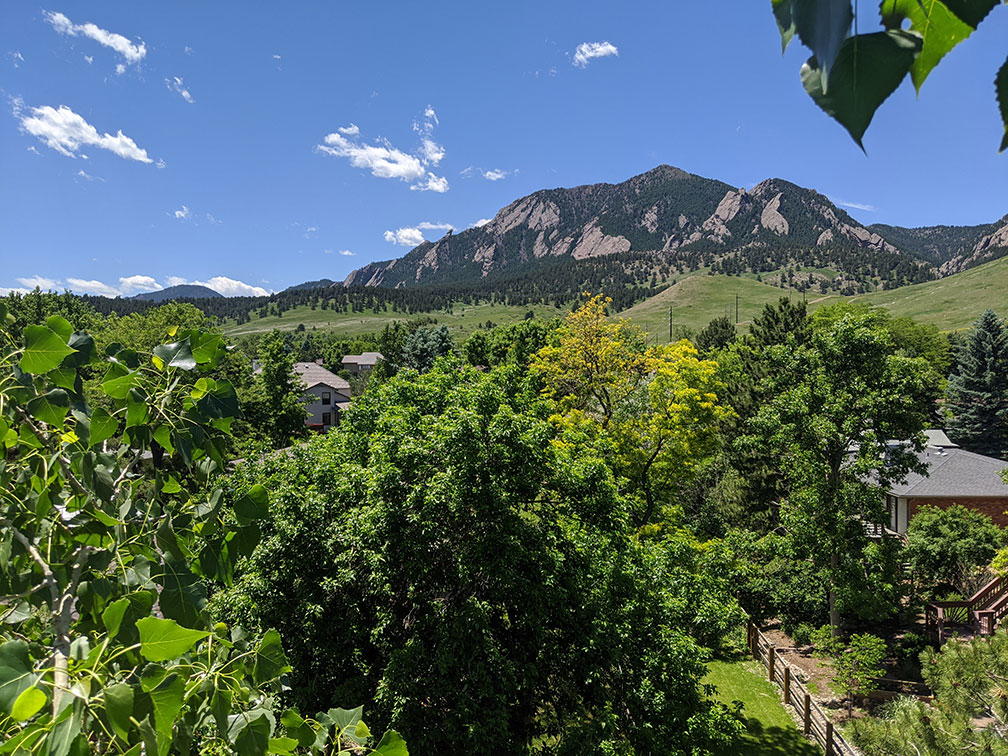 Treetop vista of Boulder with mountains in the background